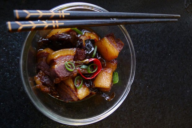 """Nickamed """"What the rabbi eats while traveling,"""" Dong Po Pork is a delight enjoyed, according to this writer, by Kosher Jewish people when they think no one is watching. - ARI LEVAUX"""