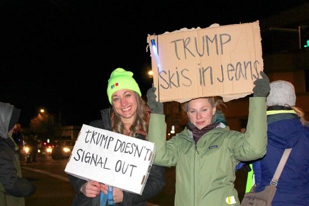 When in Bend, make protest signs that only locals would understand! On Dec. 17, the night before the U.S. House of Representatives voted to impeach President Donald Trump, hundreds of protesters lined the area around NW Greenwood Avenue and Bond Street. The largest crowds gathered outside of the offices of U.S. Rep. Greg Walden (R-OR2) who's retiring this year. The final vote to impeach the president Wednesday was split almost entirely along party lines. - LAUREL BRAUNS