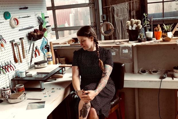 Lauren Stewart in her studio at Mud Lake. - LAUREN STEWART