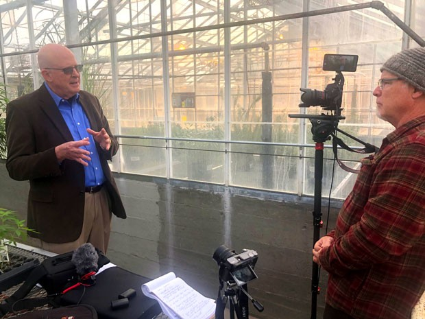 "Filmmaker Greg Moring, right, interviews Jeff Steiner of Oregon State University's Global Hemp Innovation Center for Moring's project, ""Hemp is Back."" - GREG MORING"