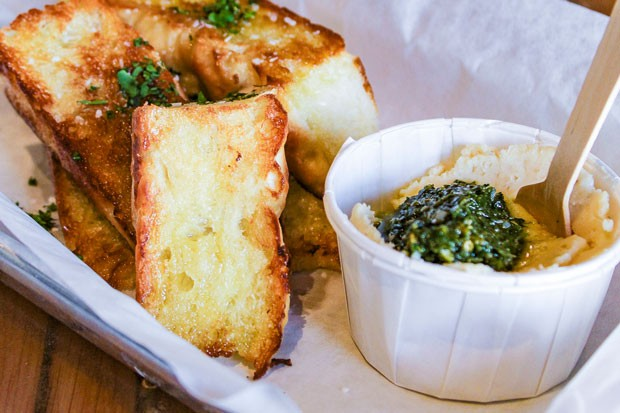 Focaccia & pesto, an antipasto best paired with a sour from The Ale Apothecary. - NANCY PATTERSON