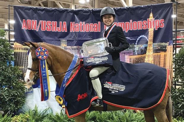 Champion Ella Delgado with her winning pony, C.E. Providence. - COURTESY CASCADES ACADEMY/ELLA DELGADO