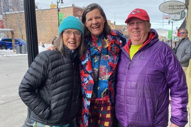 Floy Sitts, left, and Richard Sitts flank filmmaker Kirsten Johnson in downtown Park City, Utah, during the recent 2020 Sundance Film Festival. - COURTESY FLOY SITTS