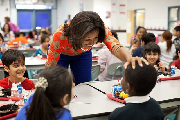 Former First Lady Michelle Obama speaks with students about the importance of healthy eating after her 