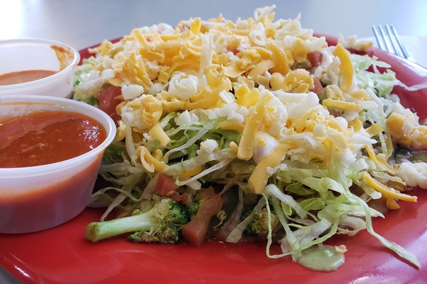 Veggie taco salad from Super Burrito's downtown location. - CAYLA CLARK