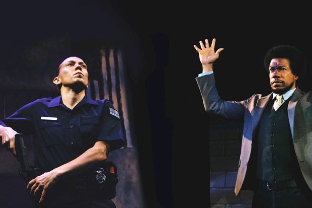 "Julana Torres and Rico Anderson performing in ""Evolve."" What began as a series of monologues on racial profiling has evolved into conversations about race and law enforcement. - KATHLEEN KELLY"