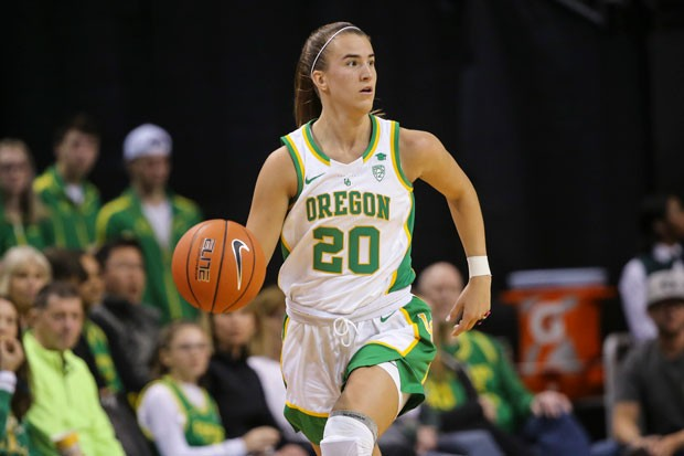 Sabrina Ionescu drives up the court for the University of Oregon. - ERIC EVANS/GODUCKS.COM