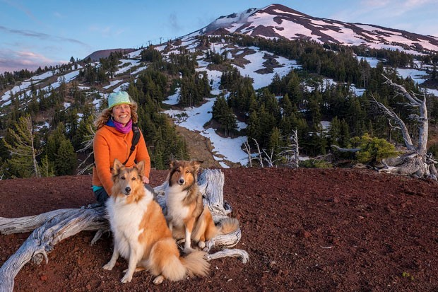 Camilla Welhaven and her two rough-coat collies take a breather by Mt. Bachelor. - LOREN WAXMAN