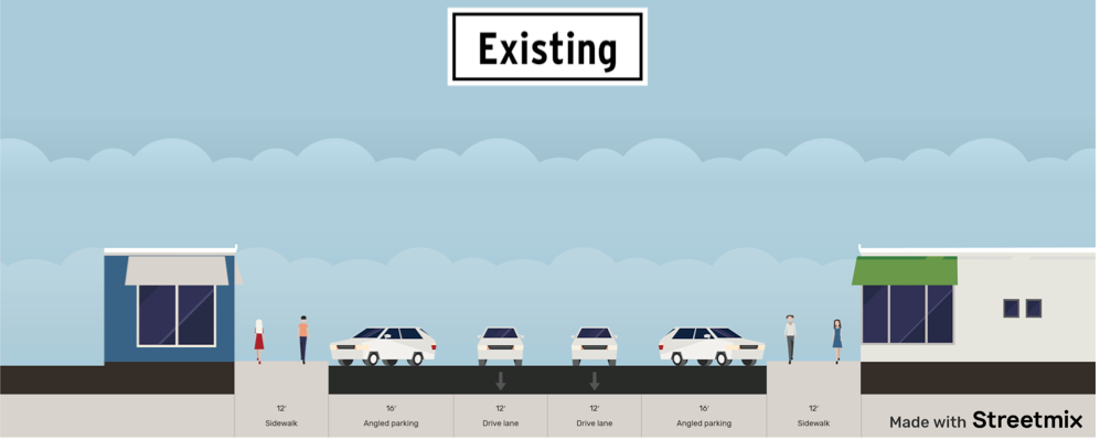 This is the current parking and driving arrangement on NW Wall and Bond Streets. - CITY OF BEND