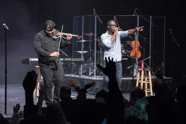 Black Violin performs at the Tower Theatre, which will open its doors for the first time in months 