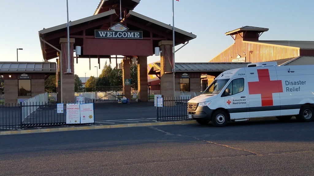 The Red Cross Cascades Region is stationed at the Deschutes County Fair & Expo Center to lead the effort to care for over 100 evacuees who fled the Santiam Pass region to escape wildfires early Tuesday morning - RED CROSS CASCADES REGION