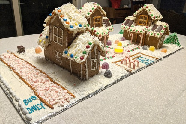 Who says gingerbread houses have to be traditional single-family homes?! In the spirit of Oregon's House Bill 2001, which in 2020, laid the framework to allow the development of non-traditional housing types such as duplexes, triplexes, quadplexes, townhouses and cottage clusters in historically single-family zones, Bend City Councilor-Elect Melanie Kebler created these festive cottage-cluster gingerbread houses. They're modeled after Korazon, the first mixed-income homeownership project for Kor Community Land Trust, which is building five goal net-zero homes near 27th Street in Bend right now. - PHOTO BY MELANIE KEBLER