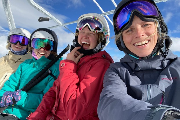 I love my snowboard... and my split board—but getting together with a lady shred crew is what life is all about. - K.M. COLLINS