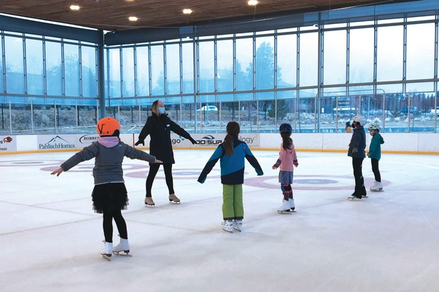 Ice skating lessons at the Pavilion. - COURTESY OF BEND PARKS AND REC