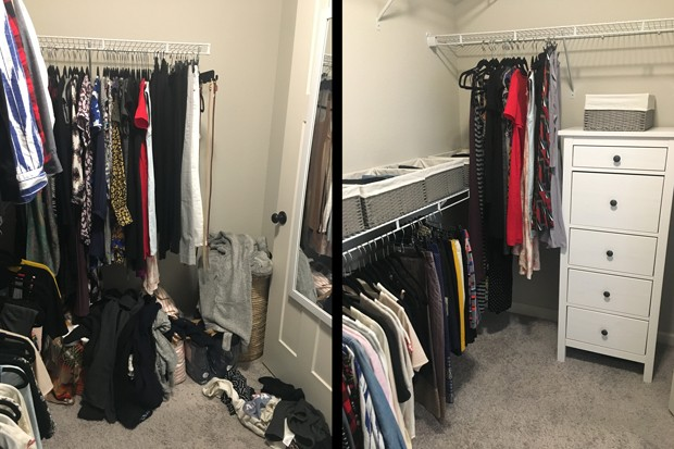 In one closet transformation, a client struggled because she was short and had a hard time reaching the upper clothing bar. After tidying, she had cut down the amount of clothing so much that she no longer needed that upper bar. - MELISSA JEAN