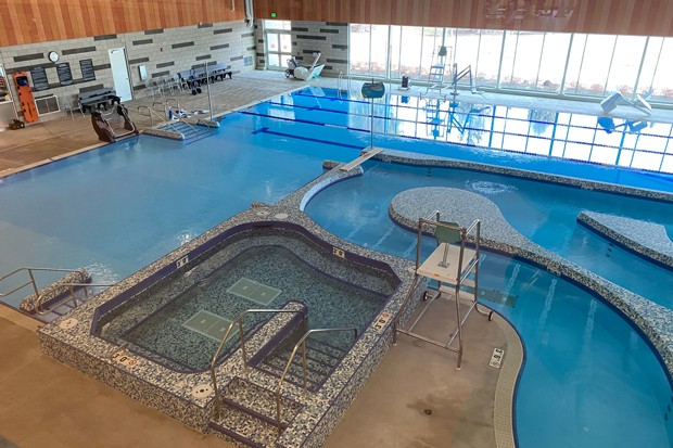 Larkspur's state-of-the-art wheelchair lift in the pool area is the only one in North America, Center staff said. - NICOLE VULCAN