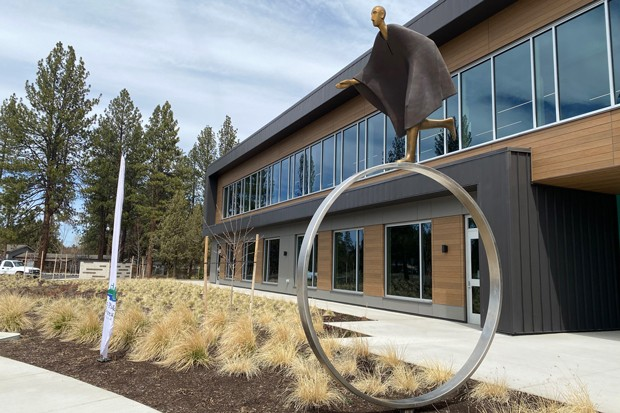 """A sculpture outside the Larkspur center, titled """"Time,"""" by Carol Gold, curated by Bend's Art in Public Places group. - NICOLE VULCAN"""