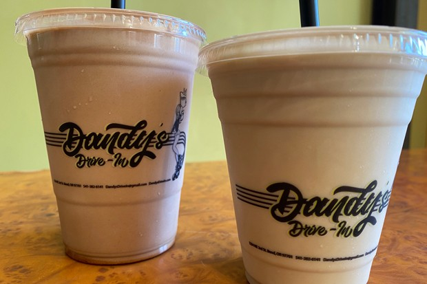Dandy's has a shake menu so big you can spend an entire pandemic checking it out. Pictured here is the classic chocolate shake and the root beer shake—like a mixed-up root beer float. Yum. - NICOLE VULCAN