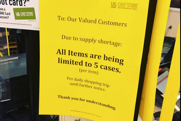 A sign announces that cases are limited at US. Foods' Chef's Store in Bend. - KIM CURLEY REYNOLDS