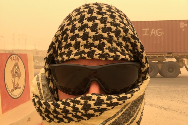 Chris Browning sweats through Middle East National Guard heat by day, and reads the Source as an antidote to home sickness by night. - CHRIS BROWNING