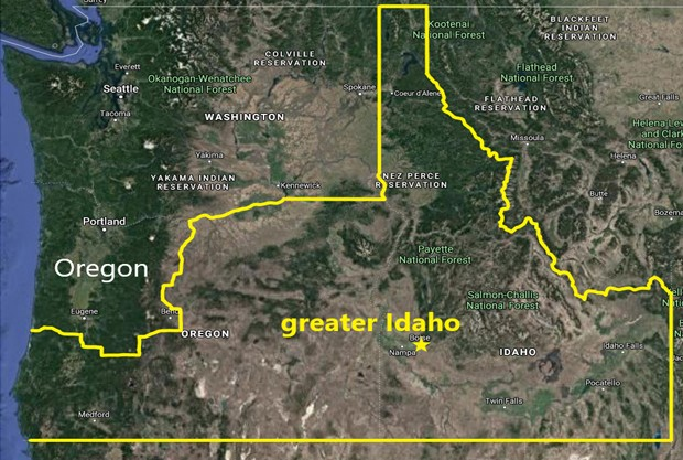 A map of proposed Greater Idaho. If successful, they would also seek to incorporate parts of northern California. - COURTESY OF GREATER IDAHO