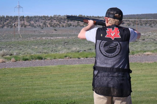 A Mountain View High School trap shooter practices at the range. - COURTESY MVHS CLAY TARGET CLUB