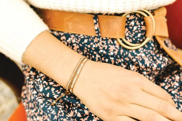 Bronwen Rosa Bracelets, by WorldScout, $38   /  Dutch + Bow Josie Belt in Cognac by ADA, $120 - DREW CECCHINI