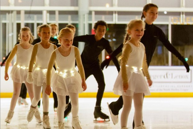 Young Bend Ice Figure Skating Club members prepare for an upcoming performance. - COURTESY BEND ICE FIGURE SKATING CLUB