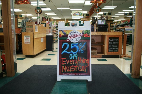 All items are 25 percent off until Nature's closes its doors.