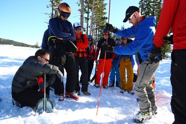 Central Oregon's Avalanche Association's VertFest, which is the groups annual get-together, conducts a probe demonstration as one of its safety clinics.
