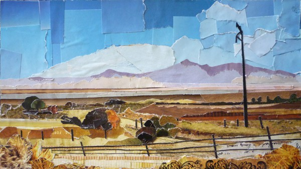 """Northern Nevada. Collage on Paper. 5"""" x 9"""""""
