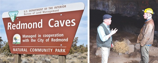 In the photo at right, Greg Currie, left, of the BLM, talks caves with Matt Skeels of High Desert Grotto.