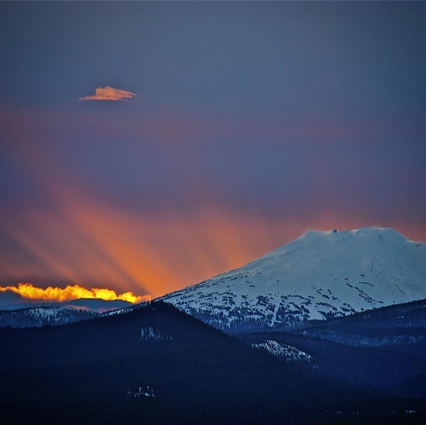 The sun sets behind Mt. Bachelor.