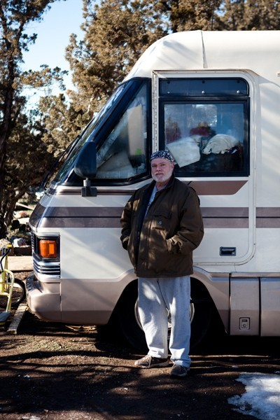 Mitch, 55, has lived on the land that needs to be cleared - JOSHUA LANGLAIS