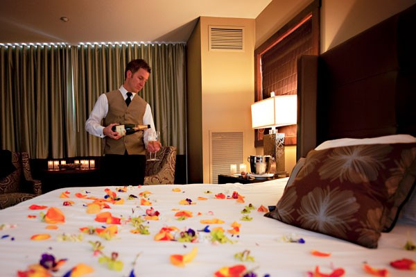 Chilled champagne and a bed of flowers await downtown dandies. - BYRON ROE C/O OXFORD HOTEL
