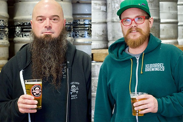 Boneyard's Mark Henion, left, and 10 Barrel Brewing's Bobby Jackson, right. - CHRIS MILLER