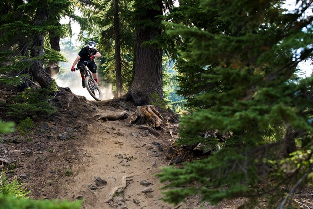 Chris Larro rips up a trail at Mt. Bachelor's Bike Park. - HAMES ELLERBE