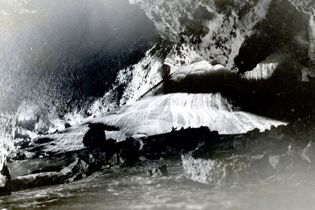 The ice wall entrance to Arnold Ice Cave, circa 1952. - JIM ANDERSON