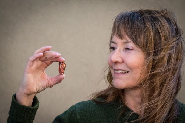 Elyse Douglas of The Sunshine Store holds a piece of sunstone. - SUBMITTED