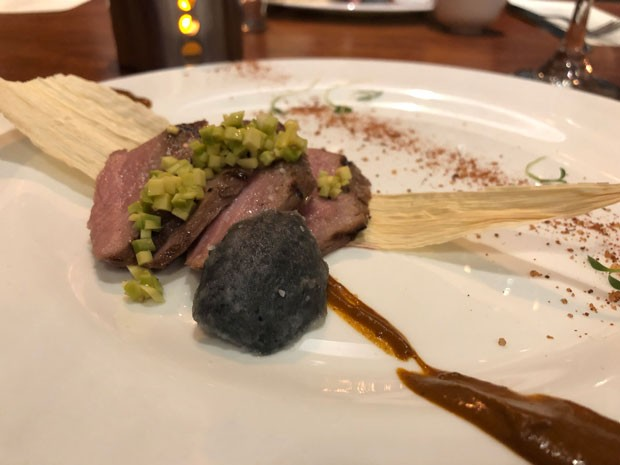 Mexican flying ants were served crushed alongside a deconstructed tamale with mole. - LISA SIPE