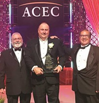 Crook County Commissioner Brian Barney, Engineer Eric Klaan, City Manager Steve Forrester receive Grand Award from ACEC