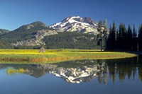The South Sister reflected in the waters of Sparks Lake in the Three Sisters Wilderness Area.