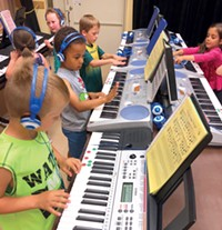 Students at Ponderosa Elementary learn the ropes of the keyboard thanks to a grant from the Education Foundation.