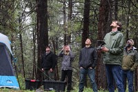 The Expedition Bigfoot team launches a drone for scouting purposes.
