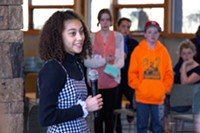 Giorgi Taylor, 12, a 6th grader at Pacific Crest Middle School, spoke to a crowd of students at Unitarian Universalist Fellowship on April 20, 2018. At 10am, students across the nation participated in the National School Walkout to end gun violence.