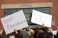 Members of the community rally outside of Bend City Hall on Wednesday, Oct. 3 at 4:30pm.