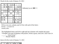 Pearl's Puzzle - Week of Jan. 21