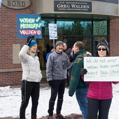 Protesters picket Trump, Walden, the NRA and the sale of public lands