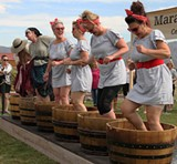 Grape Stomp 2018 competitors in Lucy dress - Uploaded by Maragas Winery