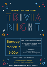 Bunk+Brew Presents: Sunday Trivia Night! - Uploaded by BunkandBrew